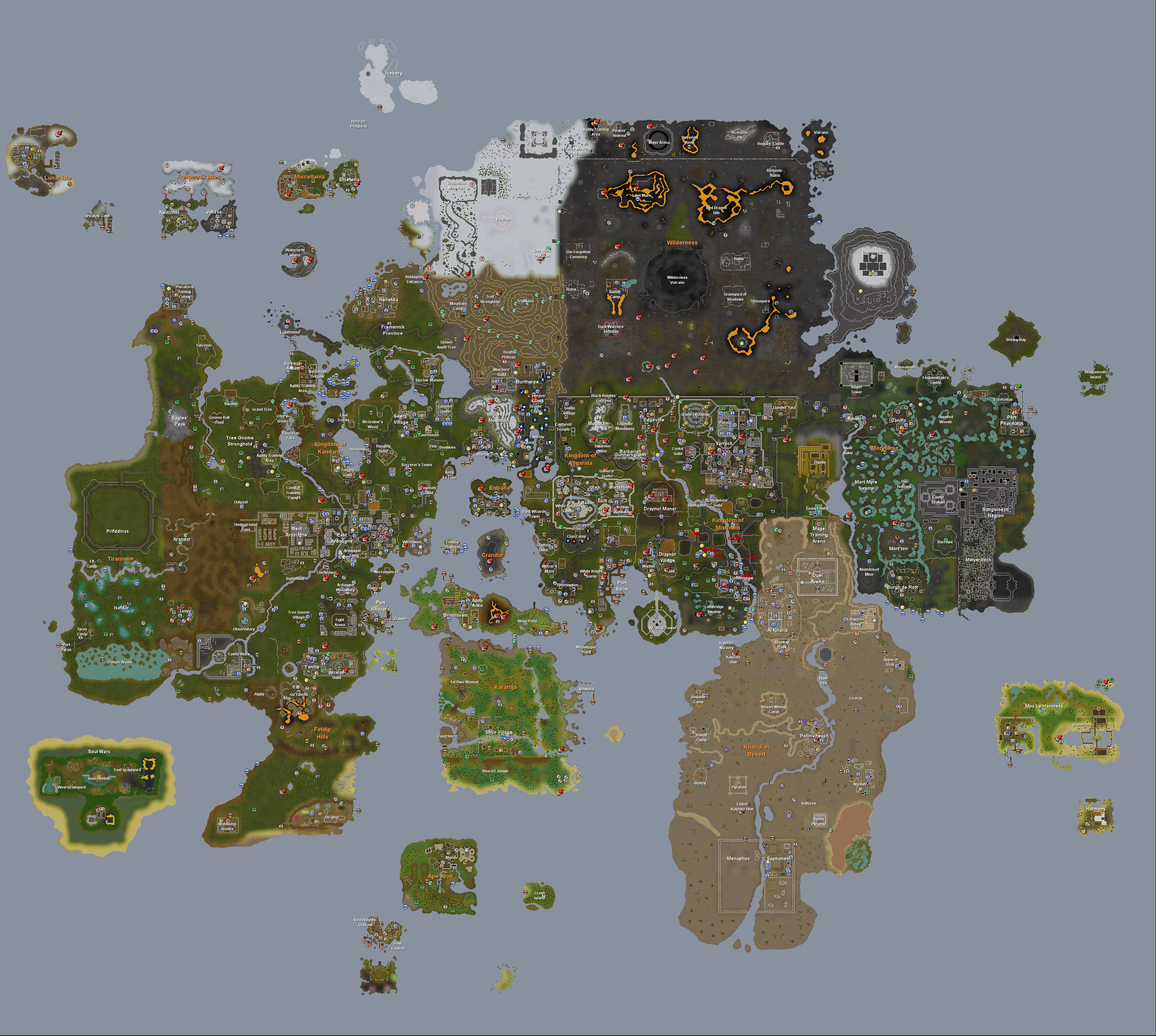 Rs 2007 Map Runescape World Map   A complete Map of Runescape